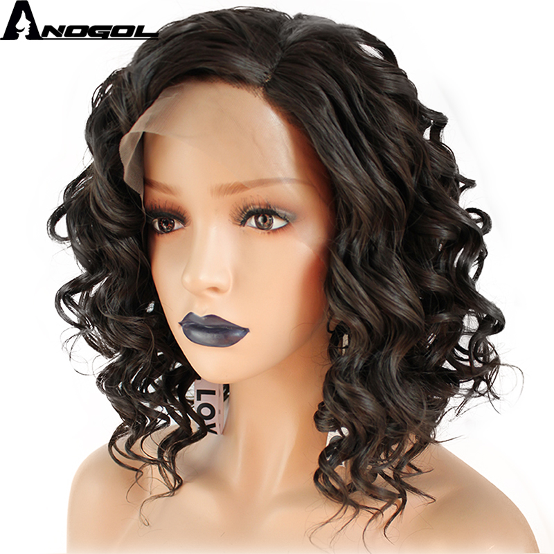 Anogol Side Part High Temperature Fiber Hand Tied Natural Short Deep Wave Dark Brown Syn ...