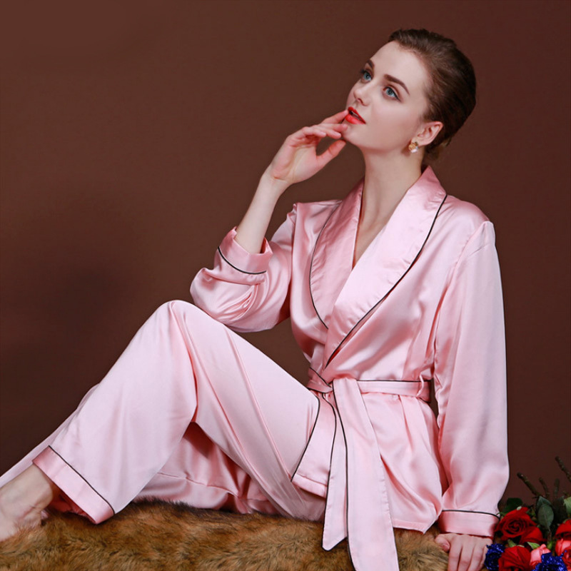 Summer New   Pajamas     Set   Women Rayon   Pajamas   Suit Lady 2PCS Sleepwear Sexy Shirt&Pant Pink Home Wear Solid Color Home Clothes