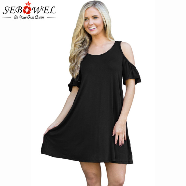 b8c93e76189 SEBOWEL 2018 New Casual Summer Short Dress Women Naughty Cute Cold Shoulder Mini  Dresses Retro Vestidos