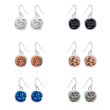 2019 New Fashion Austrian Simple Bling Earrings Crystal Cluster Drop Classic SIlver Pothook Jewelry for Women Gift