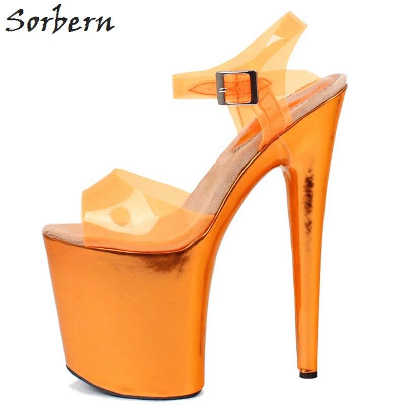 Sorbern Transparent Pvc Women Sandals Slingbacks Metallic Platform Summer Shoes Exotic Pole Dancer Heels Extreme High Open Toe