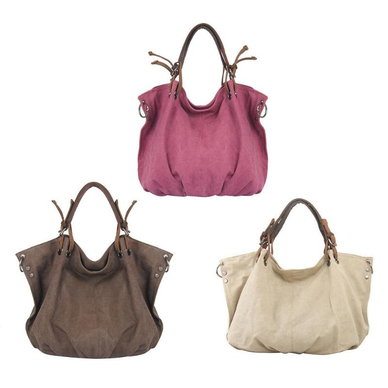 46 X 36 X 17Cm Retro Shoulder Bag With Strap Canvas Travel Hobo Big Tote Handbags Bolsa Feminina