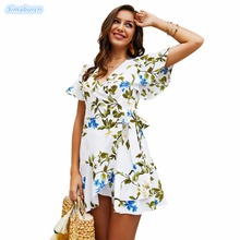 2019 Women Summer Dress Floral Printed Ruffles Bohemian Beach Sundress Female Party Clothing Short Sleeve Mini Dresses Lady S~XL