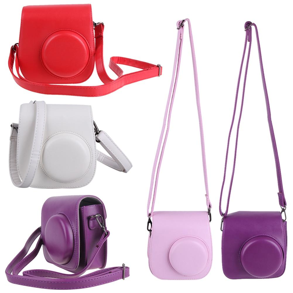 1PC Leather Camera Strap Bag Case Cover Pouch Protector Shoulder For Polaroid Photo Fuji Fujifilm Instax Mini 8