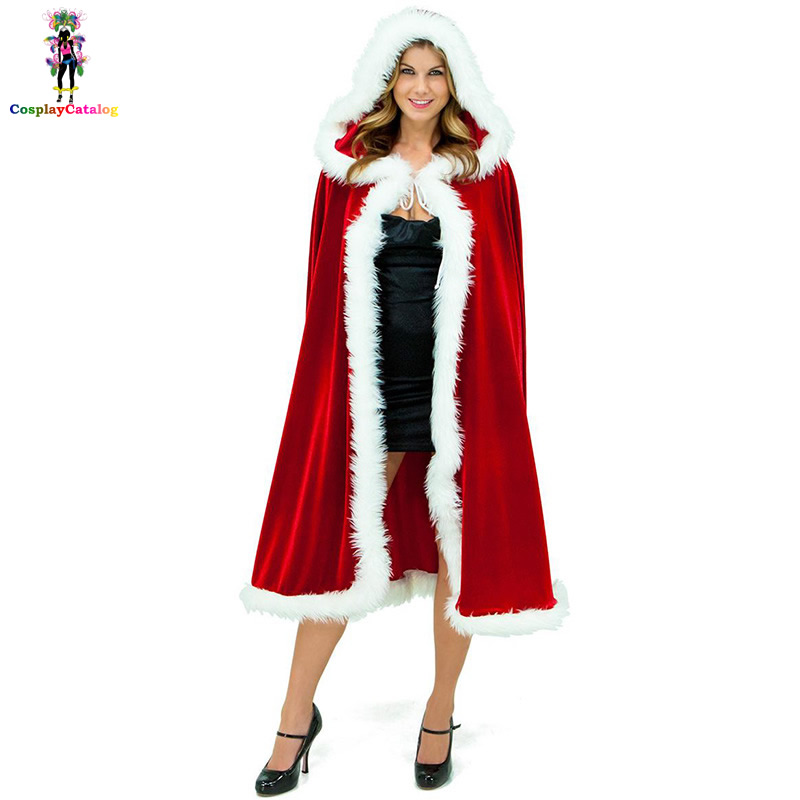 Furry <font><b>Sexy</b></font> Santas Women Cloak,Female Adult Party Santa <font><b>Christmas</b></font> <font><b>Outfit</b></font> <font><b>Costumes</b></font>,Lady Velvet Mantle with Hat Medium image