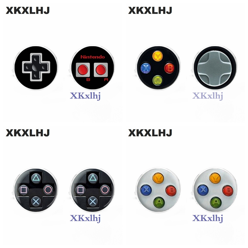 XKXLHJ 1 pair New Fashion Men Cufflink Shirts High Quality Video Game Cufflinks Playstation Cuff Links Round Glass Cufflinks pair of stylish stripe pattern round shape cufflinks for men