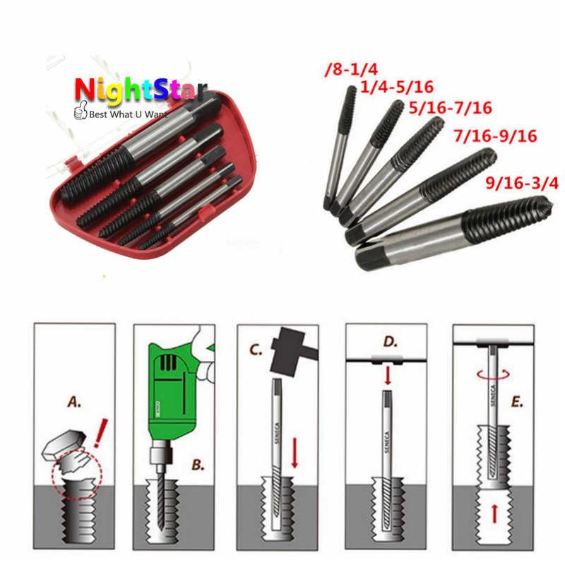 купить 5Pcs/Set Damaged Broken Screws Extractor Removal Tool Damaged Bolts Screws Drill Bits Screw Drivers недорого