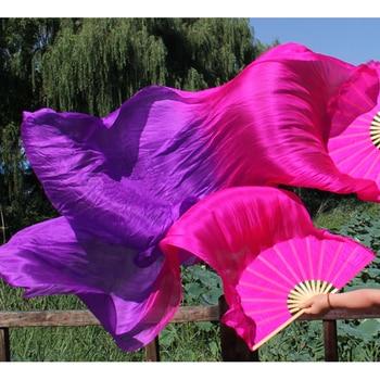 цена на Dance Costume New 2018 Women Belly Dance Real Silk Fan Veil 1 Pair (left Hand+right Hand) 180cm X 90cm Accessories