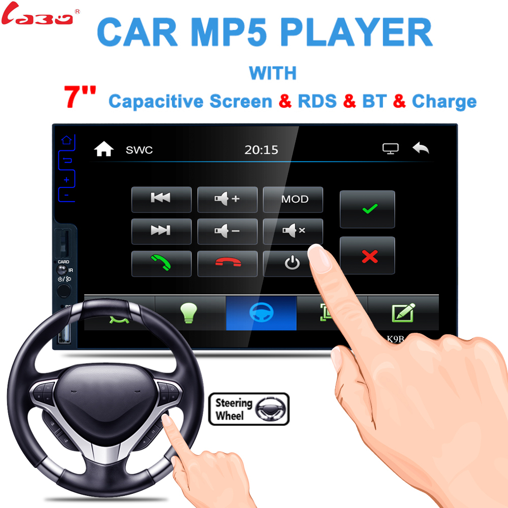 LaBo Universal Car Multimedia Player 7inch Wince Touch Screen 1024*800 MP5 Player Support Reverse Remote Control Bluetooth 9 inch car headrest dvd player pillow universal digital screen zipper car monitor usb fm tv game ir remote free two headphones