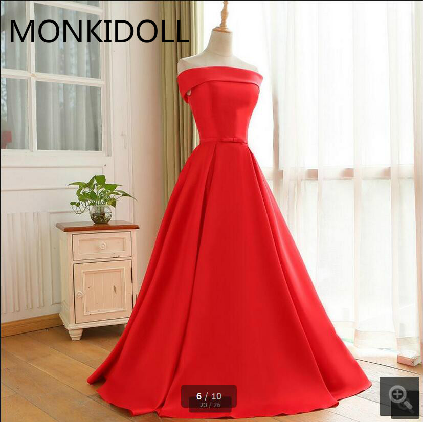 Prom-Dress Corset Satin Off-The-Shoulder Plus-Size Simple Red A-Line Short Real-Picture