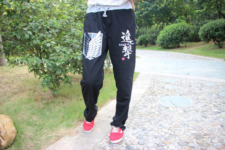 JP Anime Attack on Titan Pants Mens Casual Style Pants Black Color for Unisex