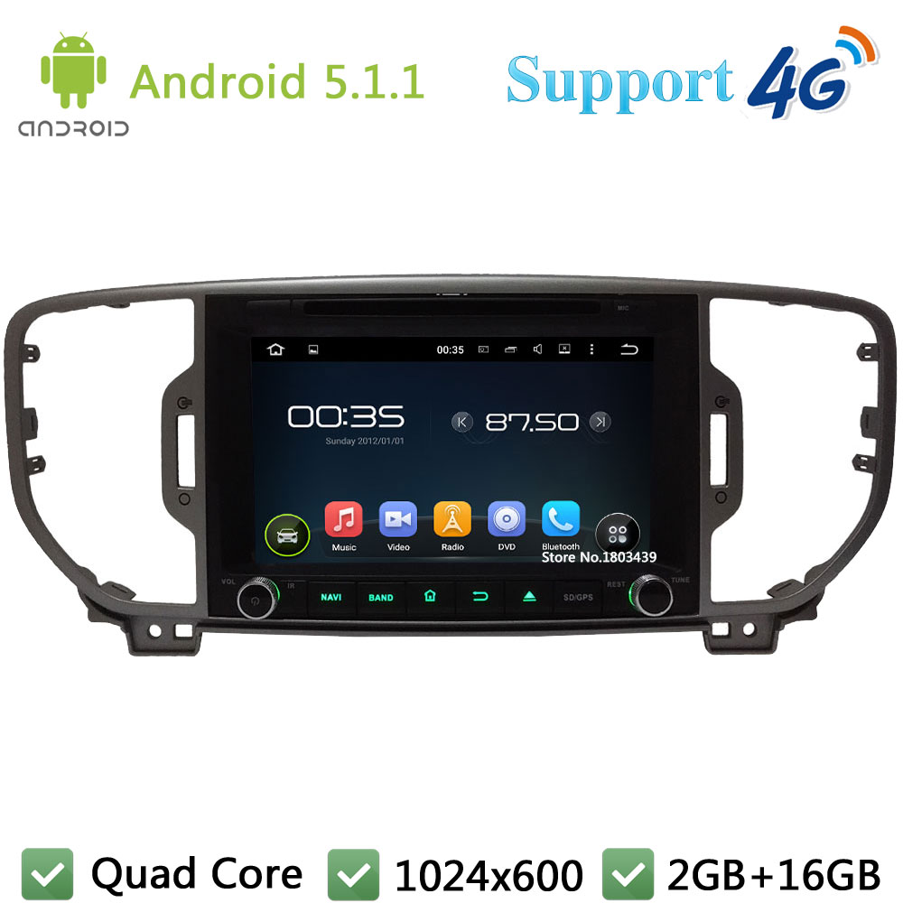 Quad Core 8″ 1024*600 Android 5.1.1 Car Multimedia DVD Video Player Radio Screen DAB+ 3G/4G WIFI GPS Map For Kia SPORTAGE 2016