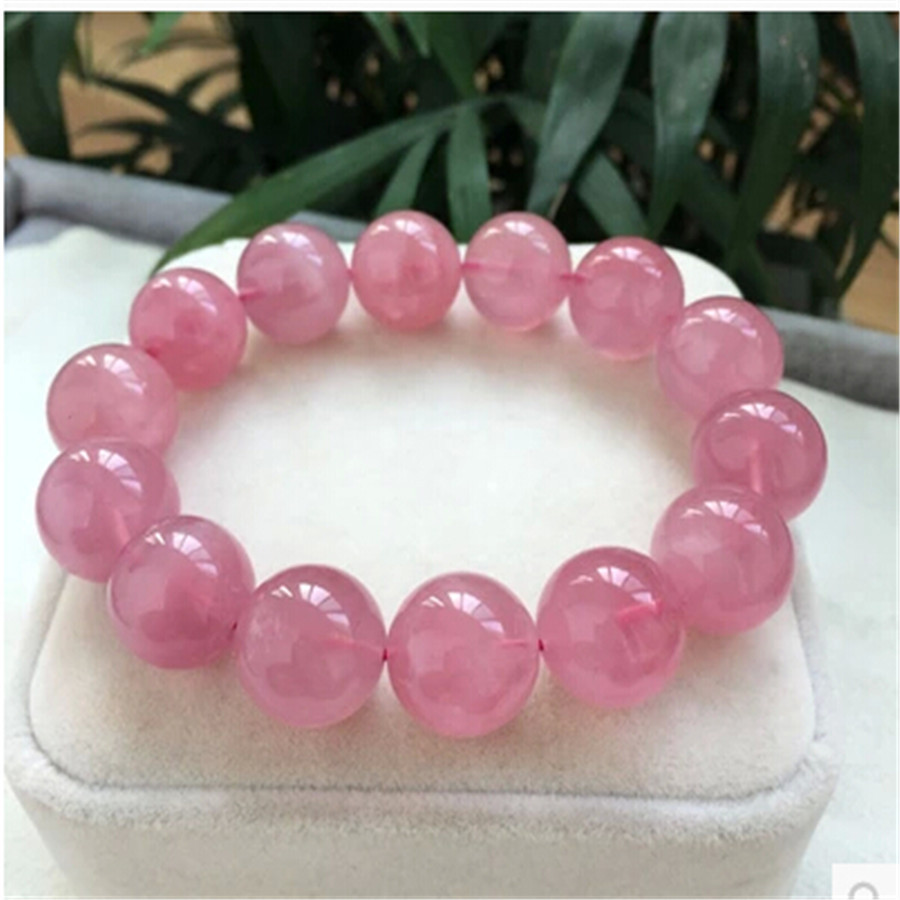 Fashion 16mm Natural Rose Quartz Bracelet Madagascar Pink Crystal Stretch Round Bead Charms Bracelet Femme AAAAA