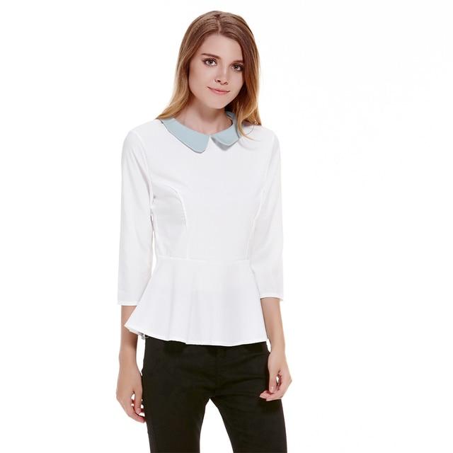 78d0440544 Nova Moda Bonito Blusa Mujer Blusa Gola Peter pan Top Camisa Mulheres  Branco Chiffon Tops Mulheres