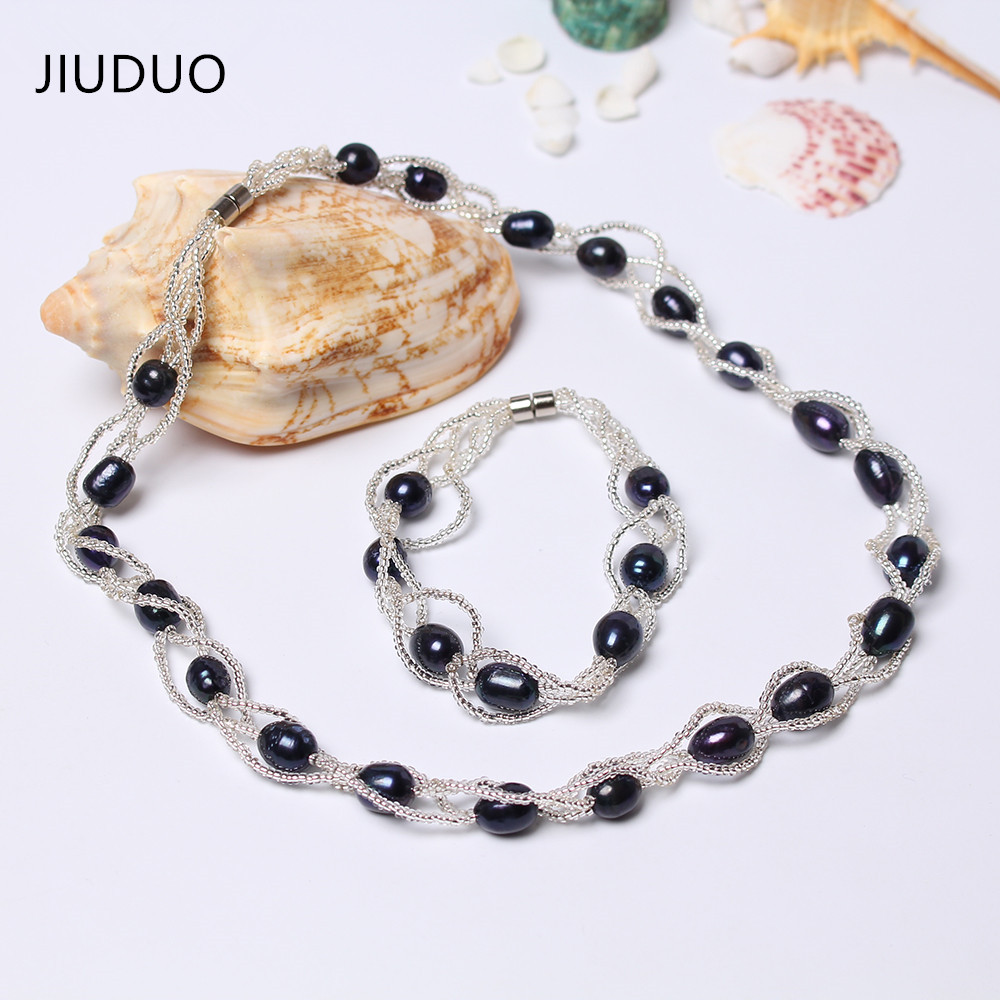 JIUDUO Jewellery Set Natural Freshwater Pearl Necklace and Bracelet Wedding Anniversary Gift to Wife font b