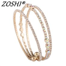 ZOSHI Classic Bling Crystal Beads Friendship Bracelets Bangles Charms Gold Silver Plated