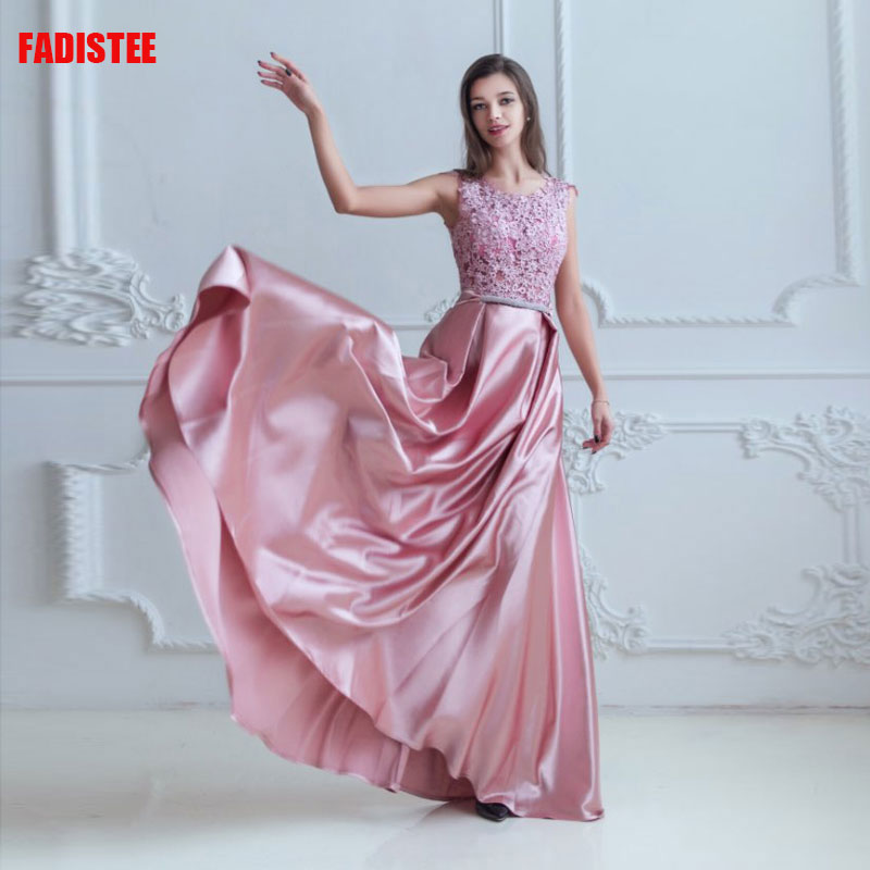 FADISTEE Elegant   Bridesmaid     Dresses   scoop-neck simple satin dark pink style Wedding Party   Dress   summer see through style 2019