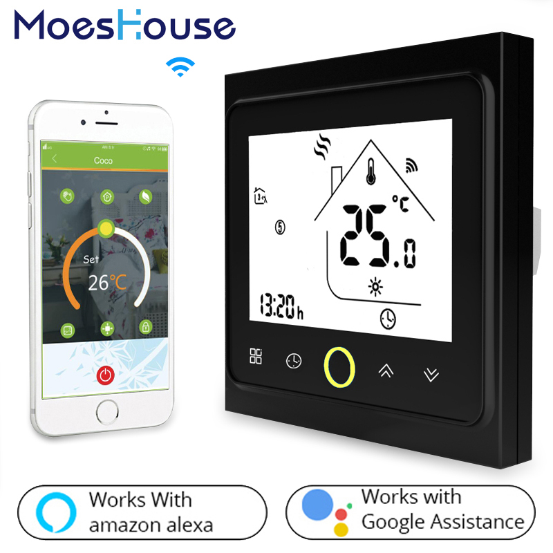 WiFi Thermostat Temperature Controller LCD Touch Screen Backlight for Water Gas Boiler Works with Alexa Google