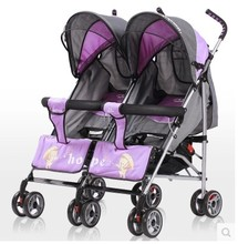 Twin baby stroller ultra lightweight folding baby can sit lie four double umbrella stroller push