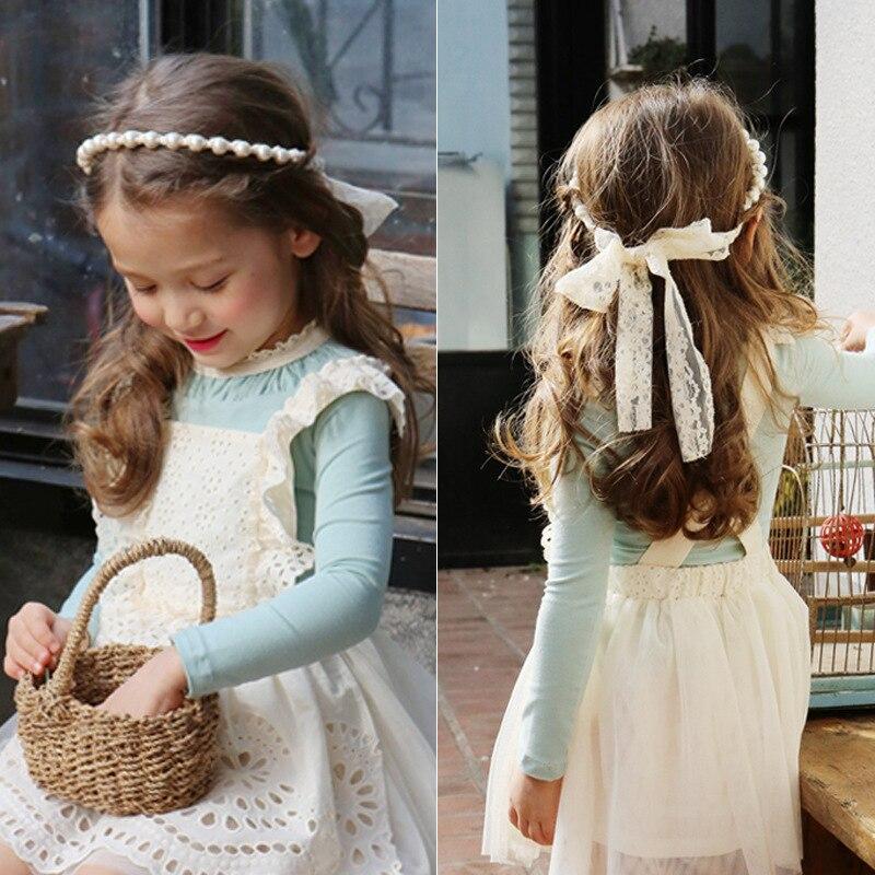Корейская кружевная Цветочная повязка на голову, ободок с вышивкой для девочек, повязка для волос с бантом, принцесса 4