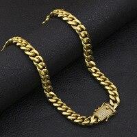 30 Men Miami Cuban Steel Insurance Buckle Jewelry Necklaces Golden Bling Zircon AAA Rhinestone Hip Hop Women Chains