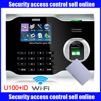 mutil language ZK U100 WIFI biometric fingerprint time attendance time clock linux system with wifi with ID card