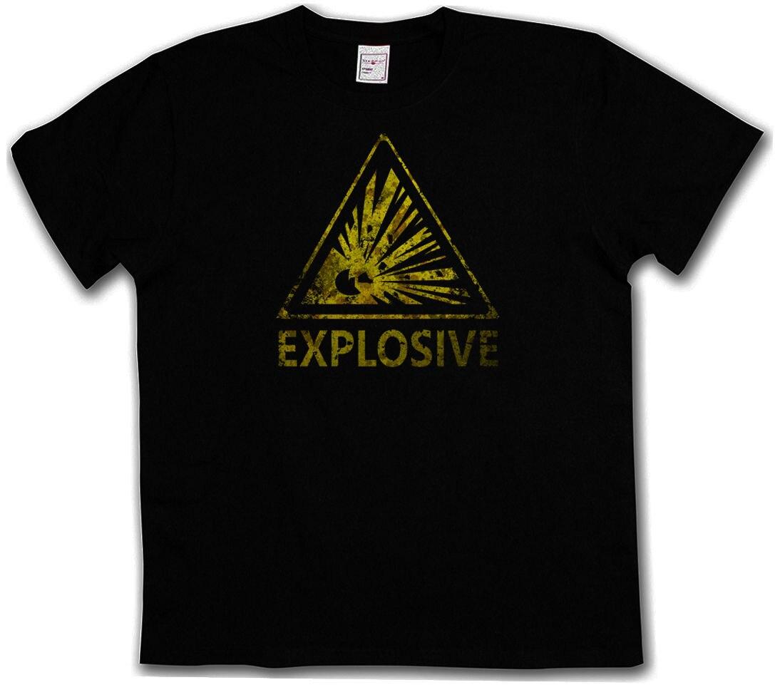 Внимание взрывной Винтажный Логотип Знак Футболка-Предупреждение опасности взрыва TNT бомба