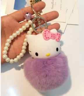 Encantador Dos Desenhos Animados Olá Kitty Rosa Gato Anime pele pompom bola pom pom Chave Chaveiro Cadeia titular anel Meninas saco de jóias pingente charme