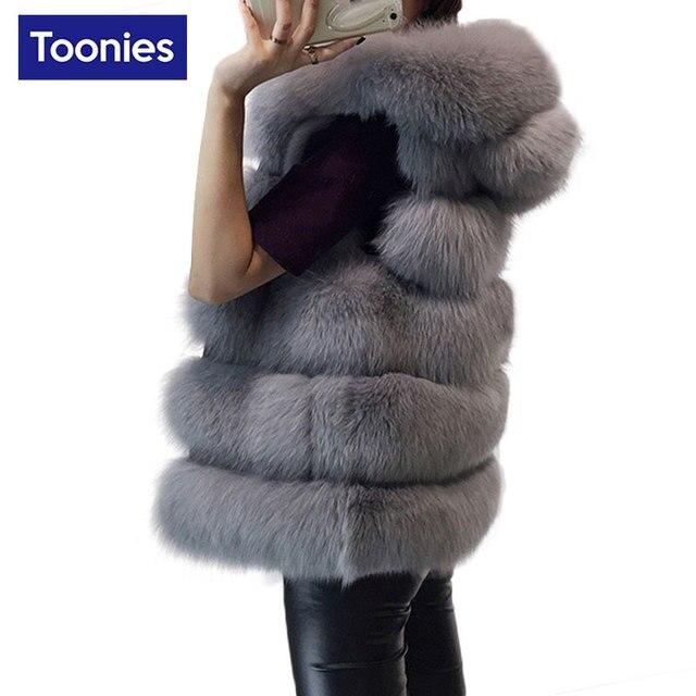 Women's Vest Hooded Cap Fur 2017 Fashion Luxury Thick Warm Vest Faux Fox Hair Down Coat Jacket Solid Color Fur Vests Women Coats
