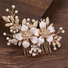 Peineta de flor de perlas de diamantes de imitación hechos a mano nuevos, accesorios para el cabello para novia, Tiara para dama de honor, joyería para boda