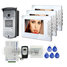FREE SHIPPING New Home 7 inch Video Intercom Door Phone System 3 White Monitors + RFID Doorbell Camera + Remote Unlock In Stock