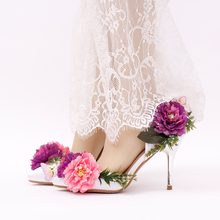 purple flower bride shoes with ultra fine diamond tanyun butterfly shoes high-heeled sandals wedding shoes red bottom high heels