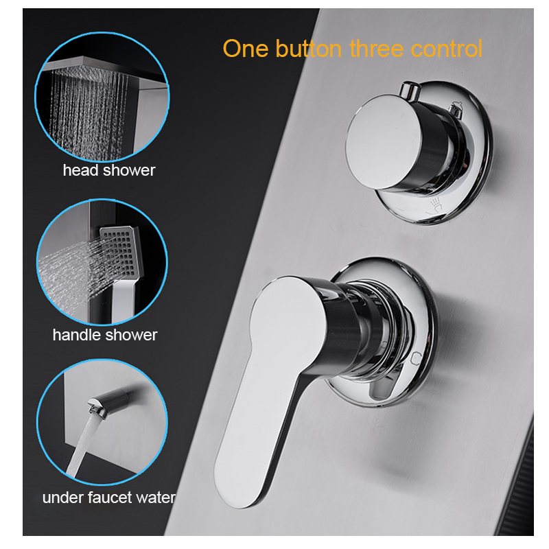Luxury Shower Panel Spa Shower Tower Massage Body Jets Waterfall Rainfall Shower Stainless Steel Shower System2