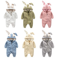 Touchcare 0 1 Years Autumn Cotton Rabbit Ear Zipper Rompers Infant Girls Boys Cute Animal Playsuits