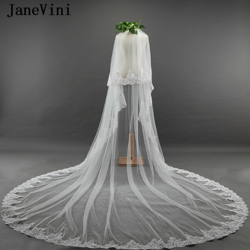 JaneVini 2018 Romantic Long Wedding Veils Appliques Edge Two Layers Cathedral Length Bridal Veil with Comb Velo Novia 3metros