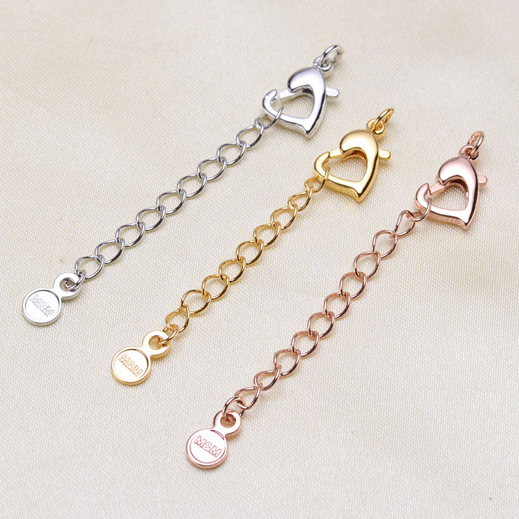 Silver/Gold/Rose Gold Lobster lasp Lengthening Tail Chain Clasps For Women Pearl Necklace Beads Bracelets DIY Jewelry Making