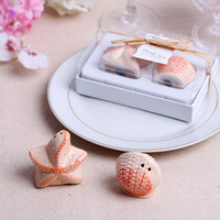 Free shipping 15sets /LOT wedding favor Sea shell and Starfish Salt and Pepper Shakers