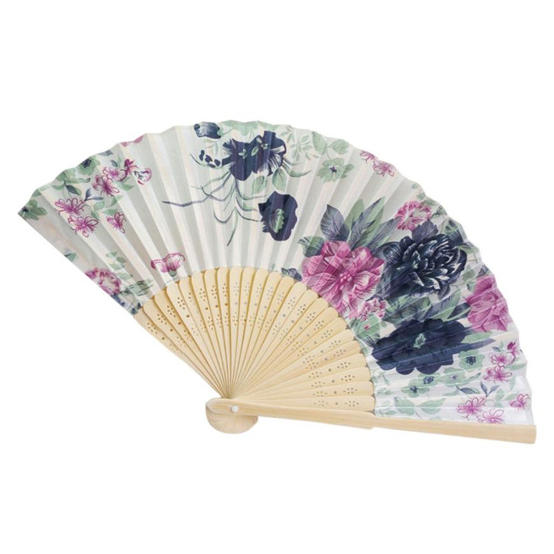 1PC Vintage Bamboo Folding Cloth Fan Hand Hold Chinese Style Flower Dance Fans Wedding Party Small Pocket Gifts Supply