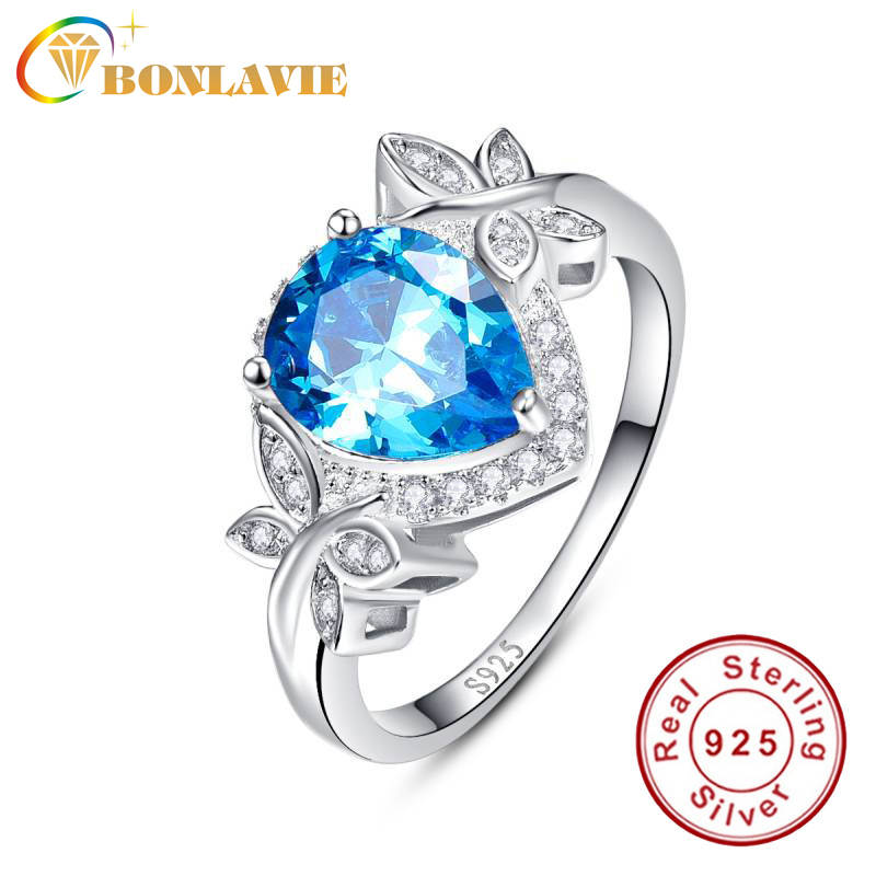 BONLAVIE Pear 3.85ct Natural Blue Topaz Birthstone Butterfly Decoration Solitaire Ring For Women Real 925 Sterling Silver Ring