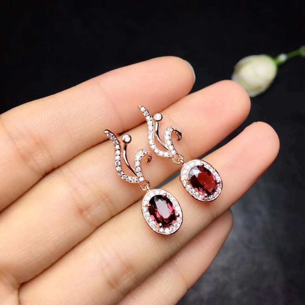 natural red garnet drop earrings 925 silver natural gemstone earrings women personality flame drop Earrings for wedding jewelry contrast drop earrings