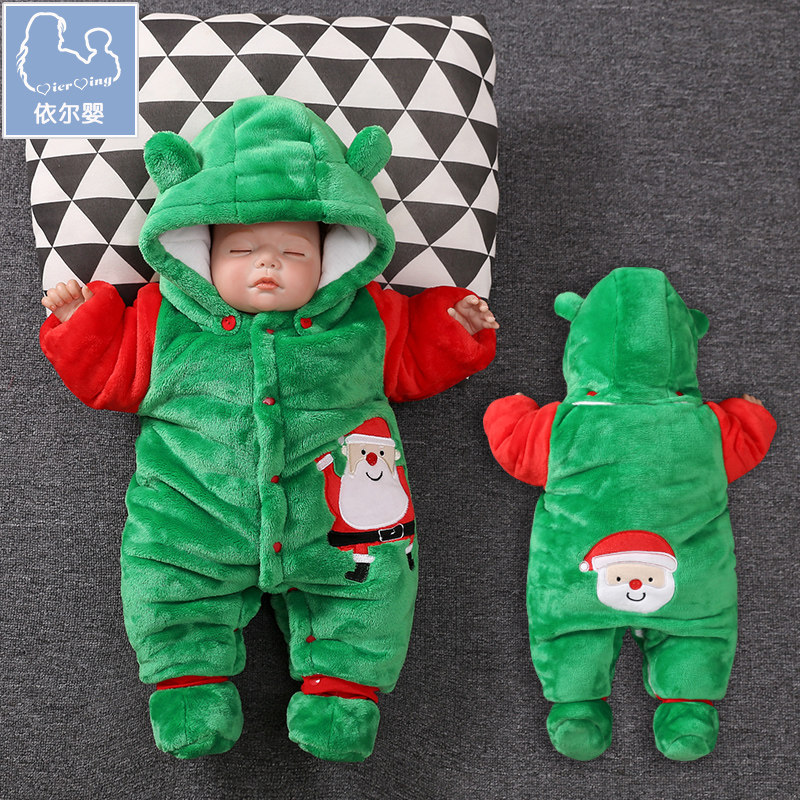 YiErYing Baby Clothes Winter Christmas Long Sleeve Lovely Hooded Infant Clothing Cotton Warm Cartoon Printed Newborn JumpsuitYiErYing Baby Clothes Winter Christmas Long Sleeve Lovely Hooded Infant Clothing Cotton Warm Cartoon Printed Newborn Jumpsuit