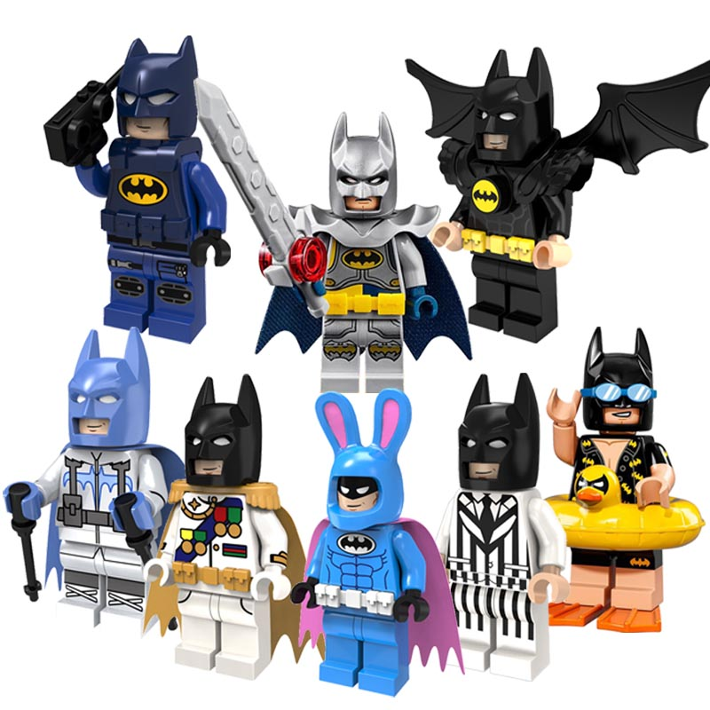 CZHY Super Heroes Building Blocks Swim Rabbit Black White Suit Batman With Cape Movie Best Education Toys for children PG8047