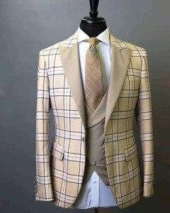 Новинка 2018, мужской костюм, клетчатый квадратный Свадебный костюм, приталенный костюм из 3 предметов, смокинг для жениха, Лучший человек, дел...