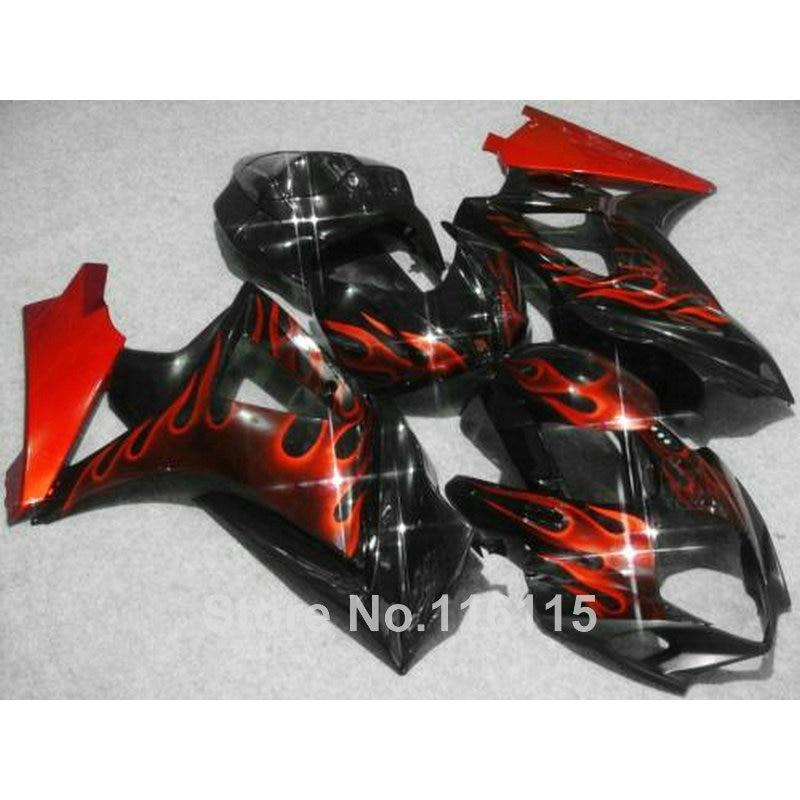 High quality ABS fairing kit for SUZUKI GSXR 1000 2007 2008 K7 K8 red flames in black fairings set 07 08 GSXR1000 JS41 abs plastic fairing kit for suzuki gsxr1000 2007 2008 k7 gsxr 1000 07 08 red black moto fairings set cb34 7 gifts