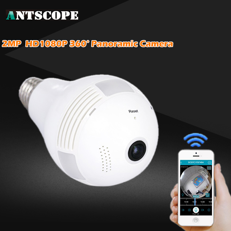 Antscope Bulb Light Wireless IP Camera Wifi FishEye 1080P 360 Degree Mini CCTV VR Camera 2MP Home Security WiFi Panoramic Cam light bulb camera vr 360 degrees wifi3d fisheye panoramic light camera network led
