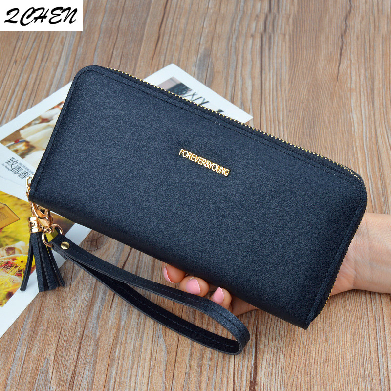 Woman's Wallet Long Zipper Luxury Brand Leather Coin Purses Tassel Design Clutch Wallets Female Money Bag Credit Card Holder 559