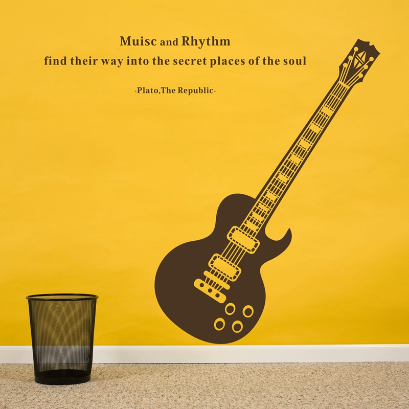 Free Shipping Fashion Guitar Music Removable Wall Stickers Art Quote Decoration Decals Quotes