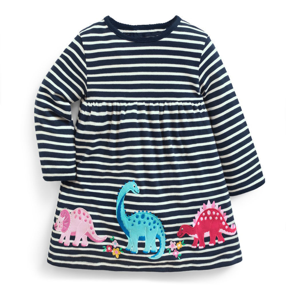 Littlemandy Girls Dress Dinosaur 2018 Autumn New Princess Dresses For Girl Kids Baby Girl Clothes Long Sleeve Baby Girl Clothes new 2017 spring autumn baby girl dress denim mesh patchwork princess girl dress long sleeve toddler kids dresses for girls dq612