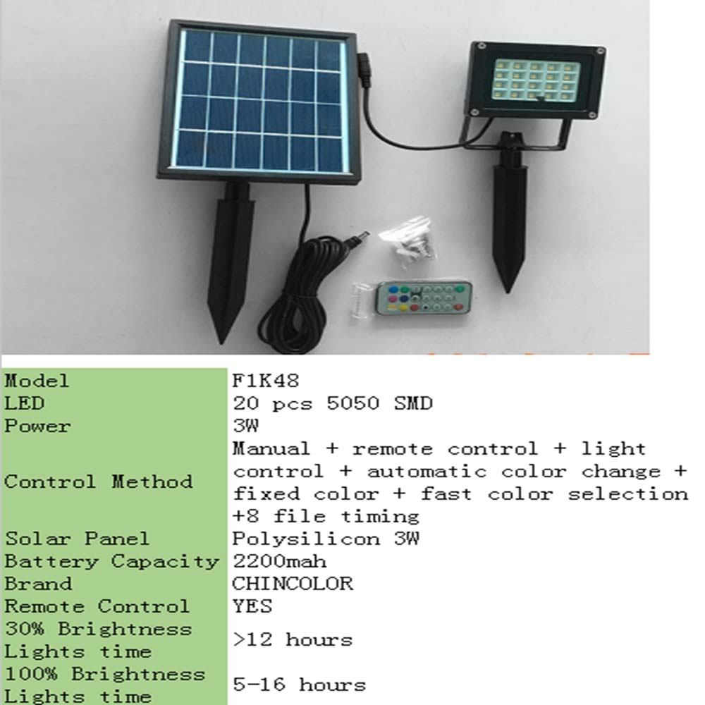 LED Solar remote wall Lamp colorful road light Security outdoor waterproof Spot Lighting IP65 Solar home decoration CHINCOLOR IQ-in Solar Lamps from Lights & Lighting    2