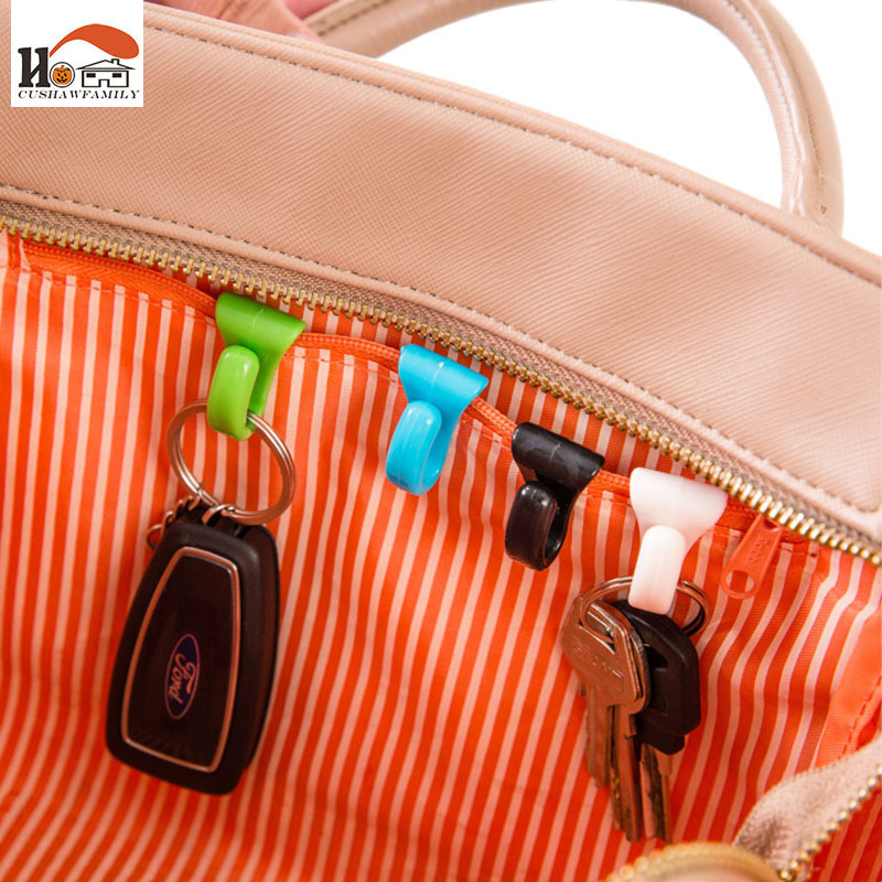 CUSHAWFAMIY 2 Pcs Colorful Mini Built-in Bag Clip Prevention Lost Key Hook Holder Storage Clips For Multiple Types Bag Inside